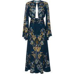 Roberto Cavalli Bell Sleeve Cutout Dress (4,660 CAD) ❤ liked on Polyvore featuring dresses, roberto cavalli, blue midi dress, a line cocktail dress, bell sleeve dress, ruched cocktail dress and cutout dress