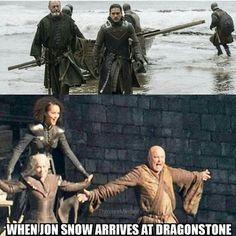 Game of thrones season 7 humour meme funny. Jon Snow, Daenerys Targaryen, Varys, Missandei. Kit Harington, Emilia Clarke, Nathalie Emmanuel