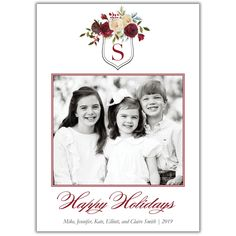 Christmas Crest Photo Cards - BrownPaperStudios.com New Year Greeting Cards, New Year Greetings, Christmas Photo Cards, Christmas Photos, Travel Cards, Very Merry Christmas, Print Packaging, Diy Cards, White Envelopes
