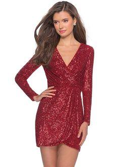 La Femme 28316 Wrap Style Short Sequin Dress