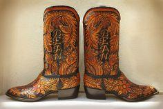 custom handtooled boots for Mr. Bean! Rocketbuster