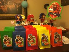 Paw patrol goody bags. I used thank you cards to decorate them.