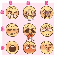 Enjoy this emotion chart! You can use them as a base or what ever just please just credit me! ALSO Give me a letter and a number as well… Drawing Challenge, Art Challenge, Art Drawings Sketches, Cool Drawings, Drawing Meme, Drawing Prompt, Drawing Stuff, Drawing Face Expressions, Art Prompts