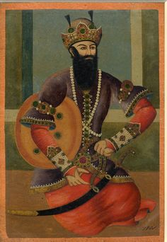 Painting. General subject - portrait. King Hormuz dressed as a Qajar prince. Painted in gouache and gilded and lacquered on paper.
