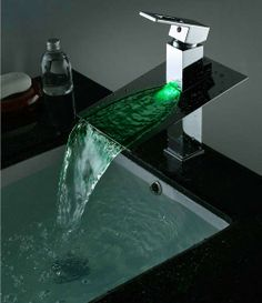 Single Handle and Widespread LED Color Changing , Glass Waterfall Bathroom and Kitchen Faucets