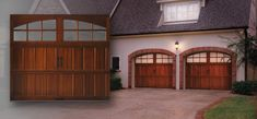 Semi-Custom handcrafted wood carriage house garage doors offered in many wood species. Carriage House Garage Doors, Wood Garage Doors, Garage Door Repair, Garage Door Manufacturers, Residential Garage Doors, French Exterior, Garage Addition, Exterior House Colors, Dream Garage