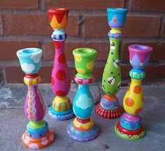 "Candlesticks Place a bunch of these playful candlesticks on your table, and it's instant party time! These are randomly hand painted, no two are the same, and the beaded bobeches (collars, or ""tops"") are the icing on the cake! Whimsical Painted Furniture, Painted Chairs, Hand Painted Furniture, Funky Furniture, Furniture Makeover, Painted Dressers, Plywood Furniture, Furniture Design, Meubles Peints Style Funky"