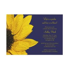 Yellow Sunflower Navy Bridal Shower Invitation by wasootch