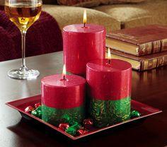 Glittered Pillar Candle Set