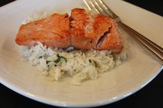 pan cooked salmon with cilantro lime rice