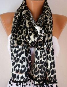 Leopard Women Shawl Scarf Headband Necklace Cowl by fatwoman, $19.00