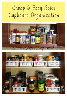 Kitchen Organization: Cheap and Easy Spice Cupboard tips!  #Organize
