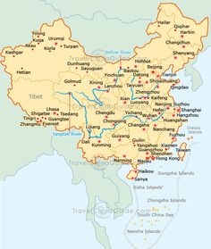 site also has many varied maps - train, subways, great wall, etc. China map with major cities