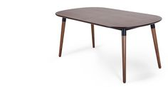 Edelweiss Extending Dining Table, Walnut and Black