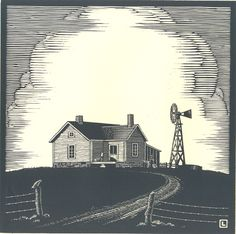 "By Herschel Logan.  ""Lonely Farmhouse""    Block print, 1934    8 x 8"