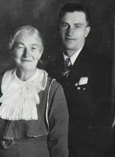 Barbara Baumgartner Flückiger and her son Norville before he left on his LDS mission to Germany, c. late 1930s. While serving as a missionary, Norville met a young woman named Margrethe. After completing his mission, he returned to Germany and rescued her and her family from WWII by bringing them to America with him. He and Margrethe married and lived happily for many years.