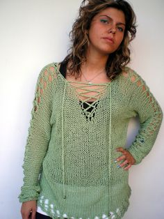 OOAK Lace Sweater Trendy Green Cotton Hand Knit Woman by NonnaLia, $120.00
