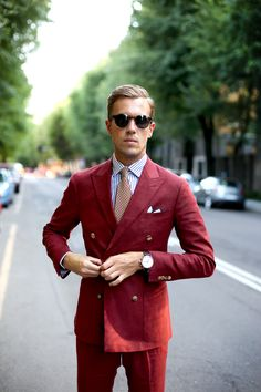 Red/Burgundy Men's Suit | Men's Fashion | Men's Style | Menswear | Moda Masculina | Shop at designerclothingfans.com