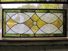 Traditional Style Stained Glass Panel Transom Sidelite