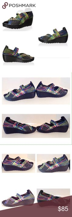 """Serene Sabeen Multi Color Sandal Serene Sabeen black multi color wedge sandal.  Size 9 medium.  New with box. A thick, ruggedly soled wedge lends a generous boost to this stretchy woven design.  Heel approximately 2.5""""; platform:  1"""".  No trades. Serene Shoes Sandals"""