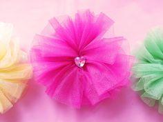 Brightly Colored Tutu Hair Clip  Rhinestone by MissLottiesBoutique