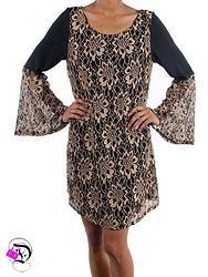 Black/Taupe V Back- Bell Sleeve Dress $38.99 Divalicious