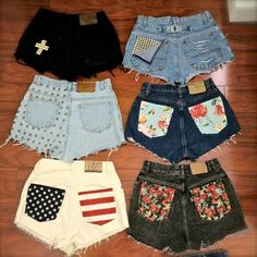 who has two thumbs and is gonna go to Goodwill today to pick out some pants for some new DIY shorts? I absolutely love the black shorts with the white cross! and the flag one! Only Shorts, Cute Shorts, Denim Shorts, Studded Shorts, Pocket Shorts, Cutoffs, Studded Nails, Black Shorts, Black Pants