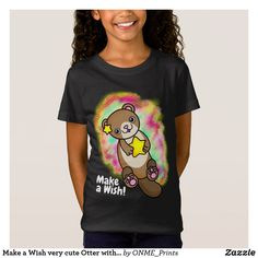 Shop Make a Wish very cute Otter with Golden Star T-Shirt created by ONME_Prints. Make A Wish, How To Make, How To Wear, Golden Star, Kawaii Cute, Kawaii Fashion, Otters, Cute Designs, Shirts For Girls