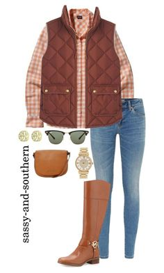 """""""cute outfit for fall"""" by sassy-and-southern ❤ liked on Polyvore featuring Patagonia, Burberry, J.Crew, MICHAEL Michael Kors, Ray-Ban, Michael Kors, Initial Reaction, michaelkors, fall2015 and sassysouthernfall"""