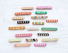 Handpainted Wooden Bobby Pins