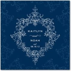Vintage inspired royal blue wedding invitations. I'm going to pretend this is mine and Noah calhouns wedding invites ;)