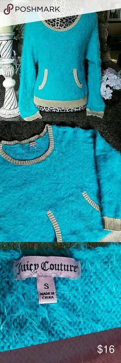 Juicy Couture Sweater Super soft teal sweater with shiny gold trim.  Front pocket to keep hands warm. Juicy Couture Sweaters Crew & Scoop Necks