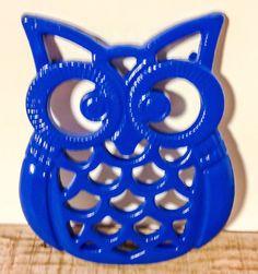 Blue Owl Trivet Owl Wall Decor Blue Hot by ShineBoxPrimitives