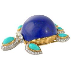 Cartier | Gold, Lapis, Turquoise & Diamond Tortoise Pin