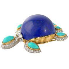 Cartier | Gold, Lapis, Turquoise & Diamond Tortoise Pin