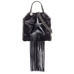 Stella Mccartney 'Falabella' tiny fringe star shaggy deer chain tote (20.762.265 VND) ❤ liked on Polyvore featuring bags, handbags, tote bags, black, mini tote bag, mini handbags, carryall tote, fringe tote and fringe purse