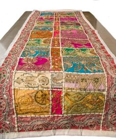 """White Table Runner 100% Cotton 18"""" x 50"""" Hand Embroidered Boho Bohemian Colorful Patchwork Indian Decoration Decor Tapestry"""