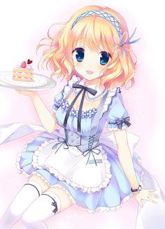 ✮ ANIME ART ✮ meido. . .maid. . .uniform. . .cosplay. . .apron. . .lace. .. ribbons. . .thigh high stockings. . .headdress. . .food tray. . .cake. . .moe. . .cute. . .kawaii