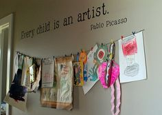 kids artwork display for a classroom! Displaying Kids Artwork, Artwork Display, Display Wall, Hanging Artwork, Hallway Displays, Art For Kids, Crafts For Kids, Arts And Crafts, Kid Art