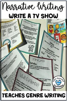 Fun narrative writing prompts for elementary students. Teach genre writing with these genre writing prompts, activities, and graphic organizers! Teachers love this project as much as the students do, students write their own television show in this engaging writing activity. Perfect early finishers activity, end of the year writing prompt, or anytime you need to inspire student creativity! Teaching Genre, Teaching Narrative Writing, Writing Genres, Writing Prompts Funny, Cool Writing, Writing Skills, Writing Rubrics, Paragraph Writing, Writing Strategies