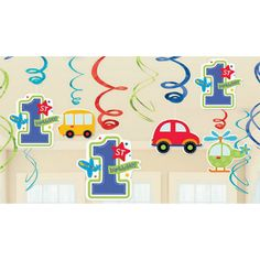All Aboard 1st Birthday Foil Swirl Decorations | 12 ct