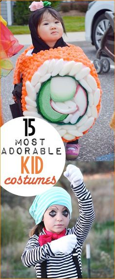 15 Most Adorable Kid Costumes.  Halloween costumes for kids that are homemade.  DIY Halloween Costumes.  Mime, Sushi, Cactus, Popeye, Hulk, Super Hero, Clown, Doll and Animal Costumes.  So many cute costumes to choose from.