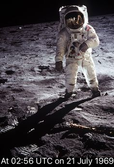 Commander of the Apollo 11 module ( Neil Armstrong ) was given the honour of being the first human to set foot on the lunar surface, saying '' One small step for man, one giant leap for mankind '' Then Buzz Aldrin ps = the inspiration for Character BUZZ Lightyear in a certain massive hit movie ( Toystory ) ✅