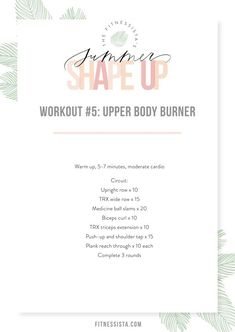 This one includes some of my very favorite exercises for building lean, beautiful, and strong upper body muscles. Give it a try in combination with some cardio or just try it out on the days you want to sculpt those guns! | Upper Body Workout | The Fitnessista | Workout Routines For Women, Workout Schedule, At Home Workouts, Workout Ideas, Body Workout At Home, Workout Calendar, Workout Challenge, Killer Workouts, Quick Workouts