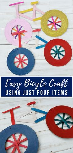 Easy Bicycle Craft for Kids - celebrate the Tour de France or a love of all things with this great using only a few items. Easy Bicycle Craft for Kid Summer Crafts For Kids, Easy Crafts For Kids, Toddler Crafts, Art For Kids, Diy And Crafts, Arts And Crafts, Summer Diy, Fall Crafts, Bicycle Crafts