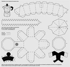Bouwplaten. Espresso-pot. Modelbouwplaat van een eenpersoons mokkapot op aluminium-kleurig papier. Grafisch Ontwerpers Arnhem