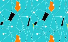 Pinned - Orange/Lime Green on Aqua fabric by gammagammahey on Spoonflower - custom fabric