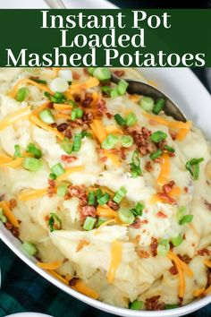 Instant Pot Bang Bang Chicken Instant Pot Loaded Mashed Potatoes are full of cheese, bacon, and green onions! Ultra creamy and delicious, these are the best loaded mashed potatoes! Twice Baked Mashed Potatoes, Mashed Potato Casserole, Instant Potatoes, Mashed Potato Recipes, Potatoes Crockpot, Instant Pot Pressure Cooker, Pressure Cooker Recipes, Food Dinners