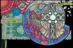 Celtic Knotwork Cross Mandala Trippy Art by CelticMandala on Etsy