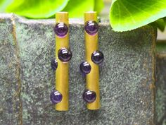 Yellow gold and Amethyst earrings. Nature inspired design